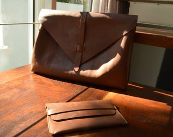 Handmade leather bag and wallet