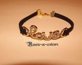 LOVE bracelet Black Suede rhinestone