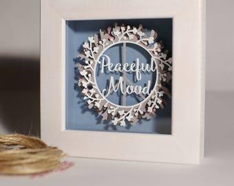 3D Paper Diorama Art Home Decor Peaceful Mood Original Paper Shadow Box Hand Made Layered Paper Cut Framed Illustration Flower Frame