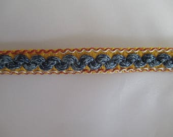 upholstery blue and yellow passementerie trim 10mm