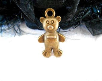 x 1 Teddy bear charm pendant 25 mm bronze.