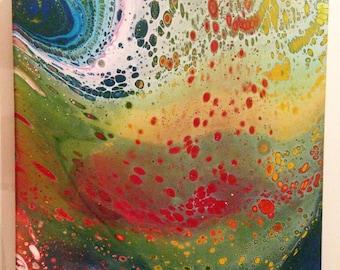rainbow abstract fluid painting