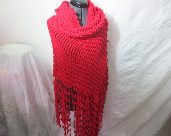 Red wool woman shawl