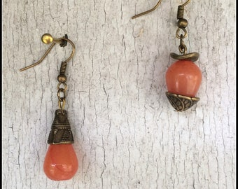 Asymmetrical earrings citrus orange jade beads