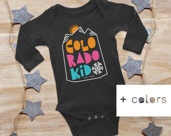 COLORADO KID, longsleeve baby onesie, baby bodysuit, colorado baby gift, baby shower gift, new baby gift, unisex onesie, newborn onesie