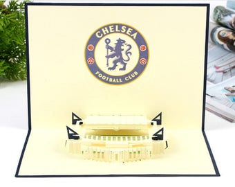 Handmade 3D pop up London Chelsea football club Stamford Bridge birthday Valentines father's day card stag night bachelor party him partner