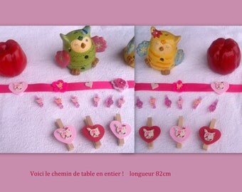 Table runner and 18 decorated clips * pink