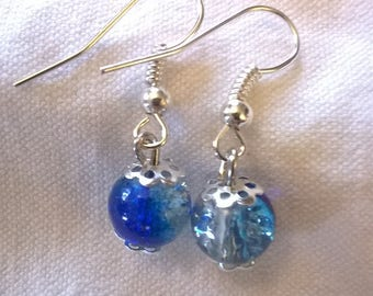 Silver earrings amazing blue transparent crystal glass beads and a little white