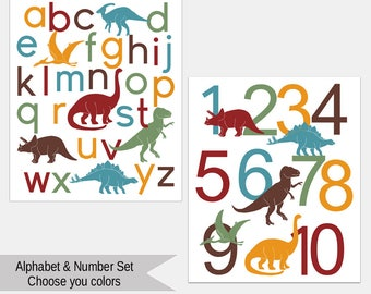 Dinosaur Alphabet and Number Poster set, Nursery Art Print, Kids Wall Art, ABC wall art, Dino Letters, Choose Your Custom Colors