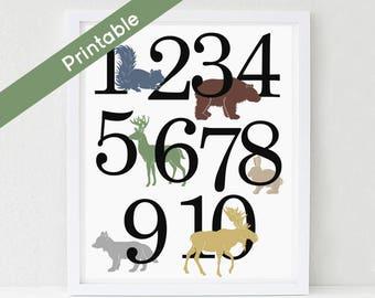 Woodland Number Poster, Printable Nursery Art, Boy, ABC,  Deer, Bear, Moose, Fox Instant download