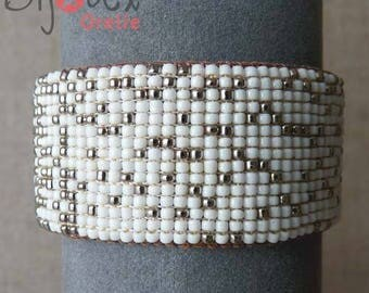 White and brown leather Cuff Bracelet