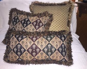 Designer Pillows, Custom Made Set of 3