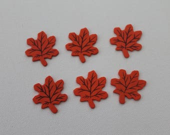 Set of wooden leaf shaped stickers