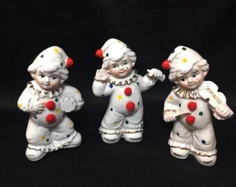 Set of 3 Clown Figurines Polka Dots