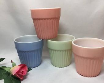 Flower Pots Hazel Atlas Fired On Pastel