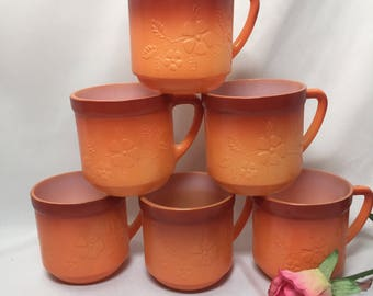 Milk Glass Mugs Vintage Orange Ombre Floral Embossed - set of 6