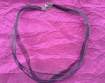 3 organza black and grey necklace