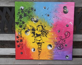 Fairy and multicolored Ivy stencil painting