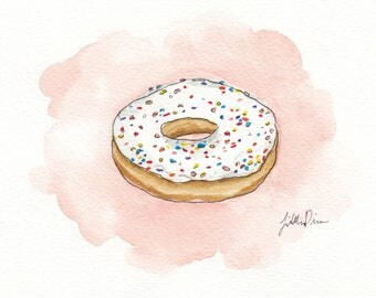 5x7 Original Doughnut Watercolor