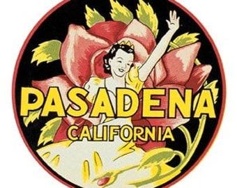 Vintage Style Pasadena  California  Rose Bowl Parade  Travel Decal sticker