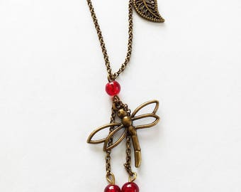 Bronze necklace, dragonfly and red beads