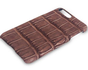 Apple IPhone 7 plus case, Genuine Crocodile leather iPhone 7 plus  Case Brown, iPhone 7 plus case, iphone gloves, phone skins
