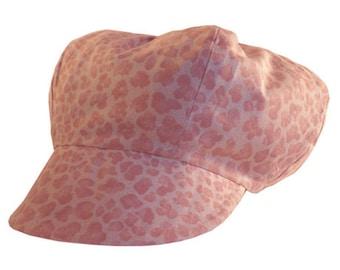 Pink salmon print newsboy cap Panther