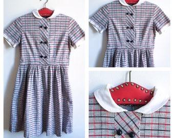 50s Vintage || Dress || Peter Pan Collar || Plaid Dress || Full Skirt Dress || Front Button Dress || Size S-M