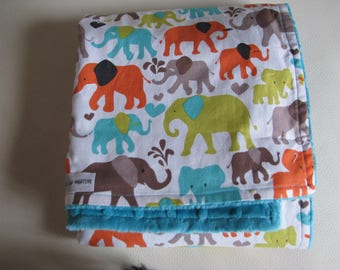 minky and cotton baby blanket for car - turquoise stroller