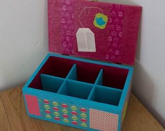 Six compartment wooden tea box