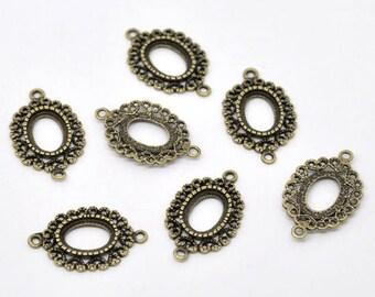 4 connectors support cameo or cabochon metal bronze