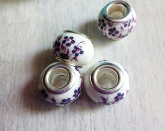 4 pattern ceramic beads small plum flowers