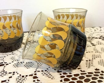 1970s Libbey Glass Lowballs, Set of 3 Vintage Libbey Lowball Glasses, Brown and Yellow Swirl Libbey Lowball Glasses