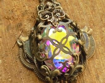 aurore boreale - collier with stamping, victorian, burlesque nugoth, gothic wedding, rhinestone filigree corset bronze wrap chain