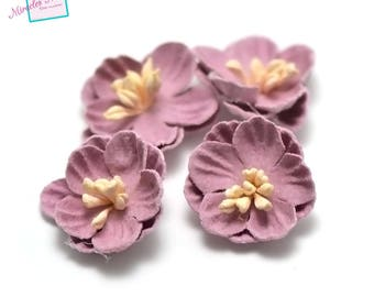 4 flowers in faux leather (suede) 21 x 7 mm, lilac