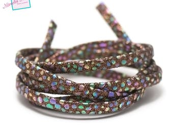 """1 m strap leather 5 x 2 mm, doubled """"Opal"""", Brown"""
