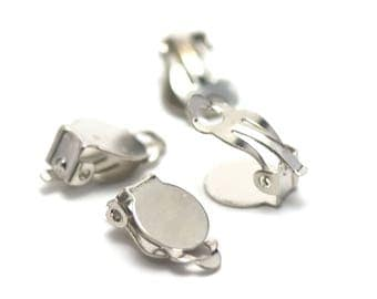 10 small 10mm clip earrings, silver plated support