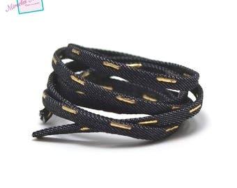 "1 m cord/thong jean ""Golden line"" 5 x 2 mm, black"