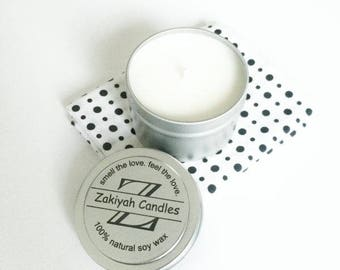 3.4oz Rain Water Soy Candle | Tin Can Scented Soy Candle
