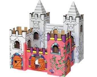 Palais des roses à construire et à colorier avec 12 feutres inclus / Kit créatif DIY pour enfant / Construction en carton et coloriage