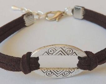 Suede suede color Brown connector oval shape bracelet