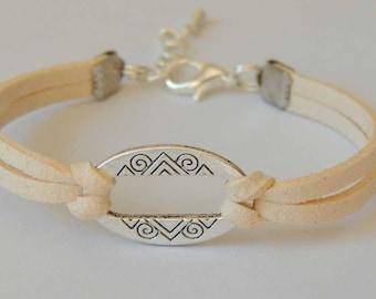 Cream suede suede color bracelet connector oval shape
