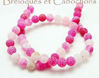 25 8 mm pink Crackle agate beads