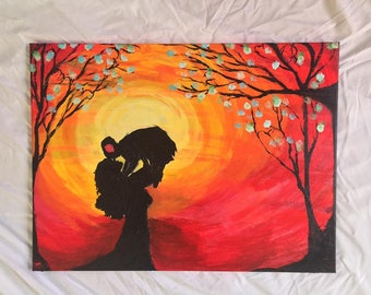 Original 18x24 Modern Red Acrylic painting Moms Love by Beej