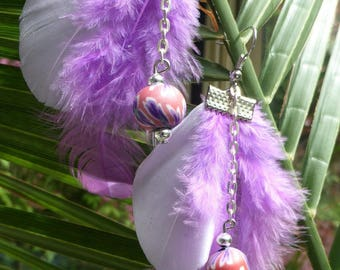 FEATHERS collection - Earrings - violet/purple