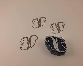 handmade stamp squirrel