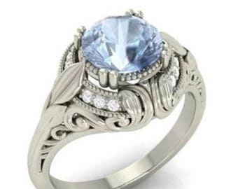 Icy-blue and elegant 925 Sterling Silver Aquamarine Ring