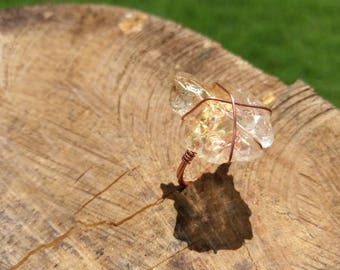 Solar Warrior / Chunky Citrine Statement Wire Wrap Ring