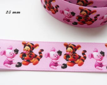 Grosgrain Pink Ribbon Baby Tigger & piglet from 25 mm sold by 50 cm
