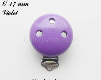 Clip / wooden pacifier Clip, Ø 37 mm from loop: Violet